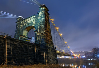 Wheeling Suspension Bridge at Night