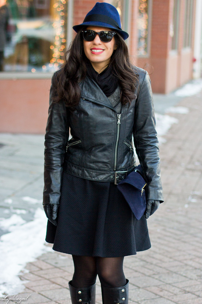 LBD, Leather jacket, Navy fedora-1.jpg