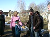 The traditional welcome, Simon samples the bread and salt presented as a traditional Belarusian welcome.
