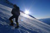 Kaukasus, Elbrus Climbing. Sonnenaufgang auf 5.000 Meter Höhe am Elbrus. Foto: Günther Härter.