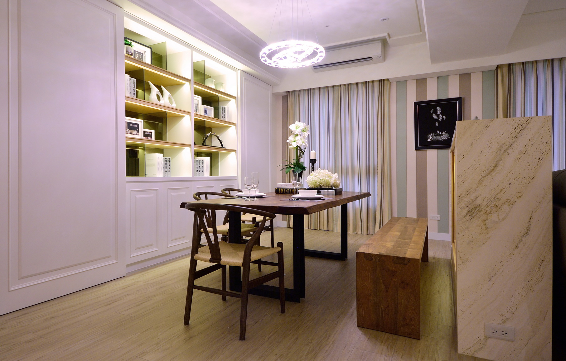 【住宅設計】林口冠東方黃公館-美式簡約居家風餐廳1