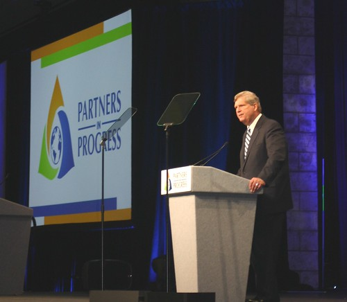 Agriculture Secretary Tom Vilsack addresses dairy producers at the National Milk Producers Federation annual meeting in Dallas, Texas on Oct. 29, 2014