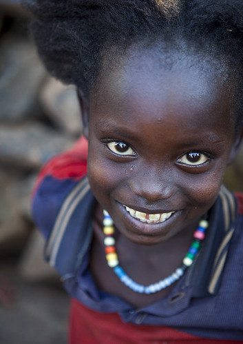 Cute Girl With Afro Hair From Konso Tribe, Konso, Ethiopia
