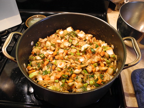 Vegetables cooking in roux