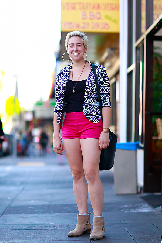 julie_pinkshorts street style, street fashion, women, San Francisco, Quick Shots, 16th Street