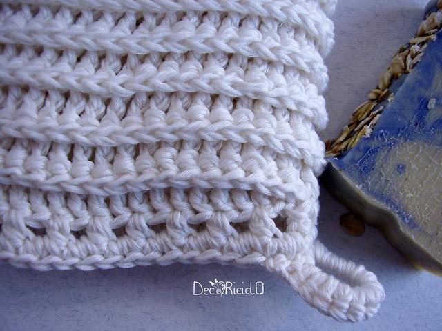 manopola da bagno di cotone all'uncinetto 3
