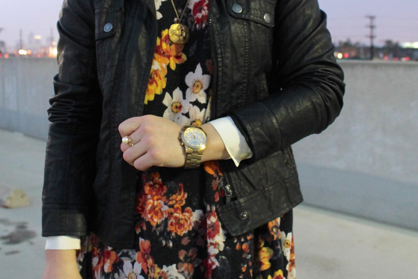 winter #outfit idea: leather jacket + floral dress