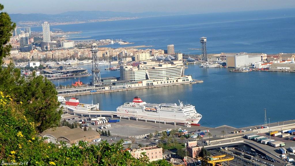Barcelona day_3, View on old port from Castell de Montjuïc