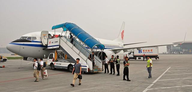 Deplaning in Beijing