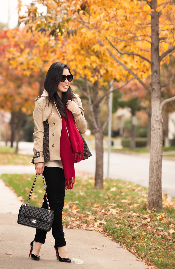cute & little blog | choices peplum cropped trench, red scarf, black skinny jeans, louboutin black patent pumps, chanel flap | maternity bumpstyle third trimester 32 weeks | fall winter outfit