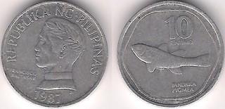 1987 Philippine 10 sentimo (pygmea)