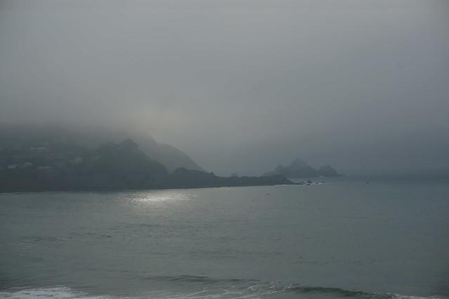 Sun trying to break through fog