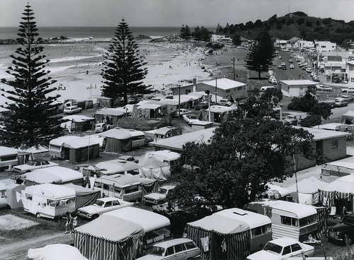 "'Happy Summer Holidays"" Motor Camp, Mount Maunganui, 1968."