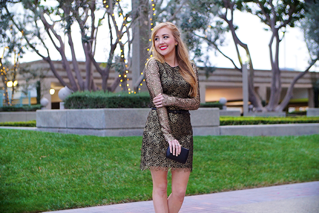gold and black lace dress