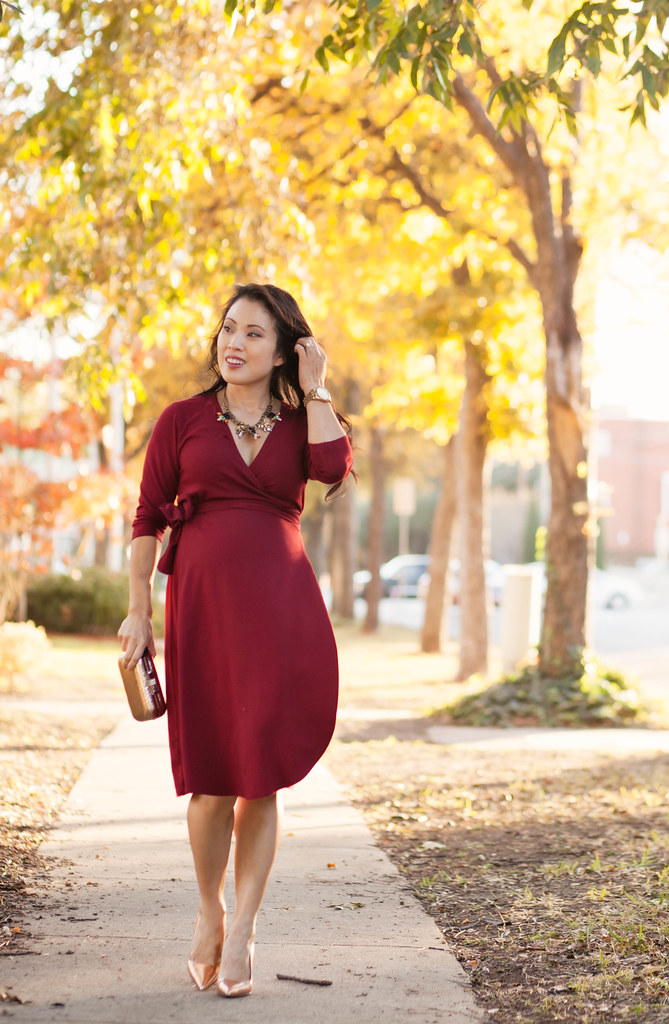 cute & little blog | petite fashion | maternity bumpstyle third trimester | isabella oliver classic wrap dress, kate spade rose gold licorice pumps, gold case clutch | fall outfit