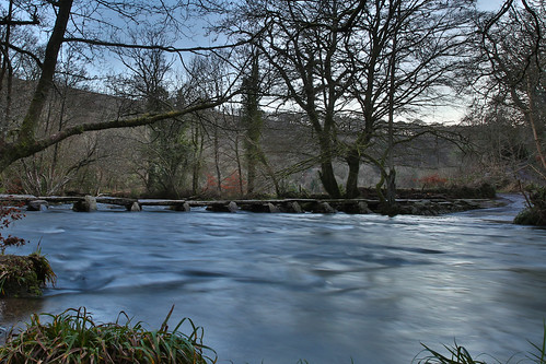 bridge trees winter water river flow steps somerset flowing hdr tarr exmoor clapper barle