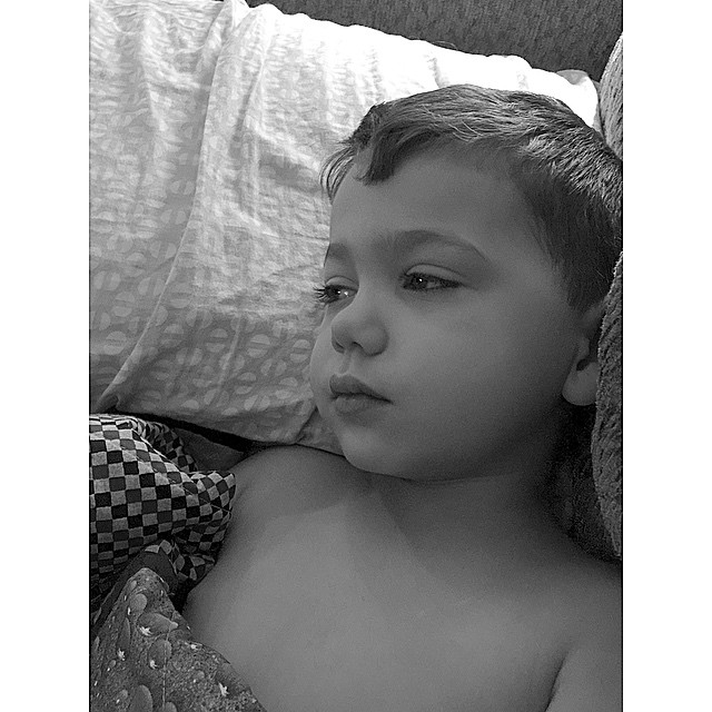 Now my little man has what I have. We are waiting on the doctor's office to open & make an appointment for him. He woke me up at 3am with a temp of of 104. Being sick is no bueno. ��