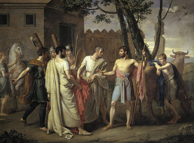 Cincinnatus leaves the plow for the Roman dictatorship by Juan Antonio Ribera y Fernández