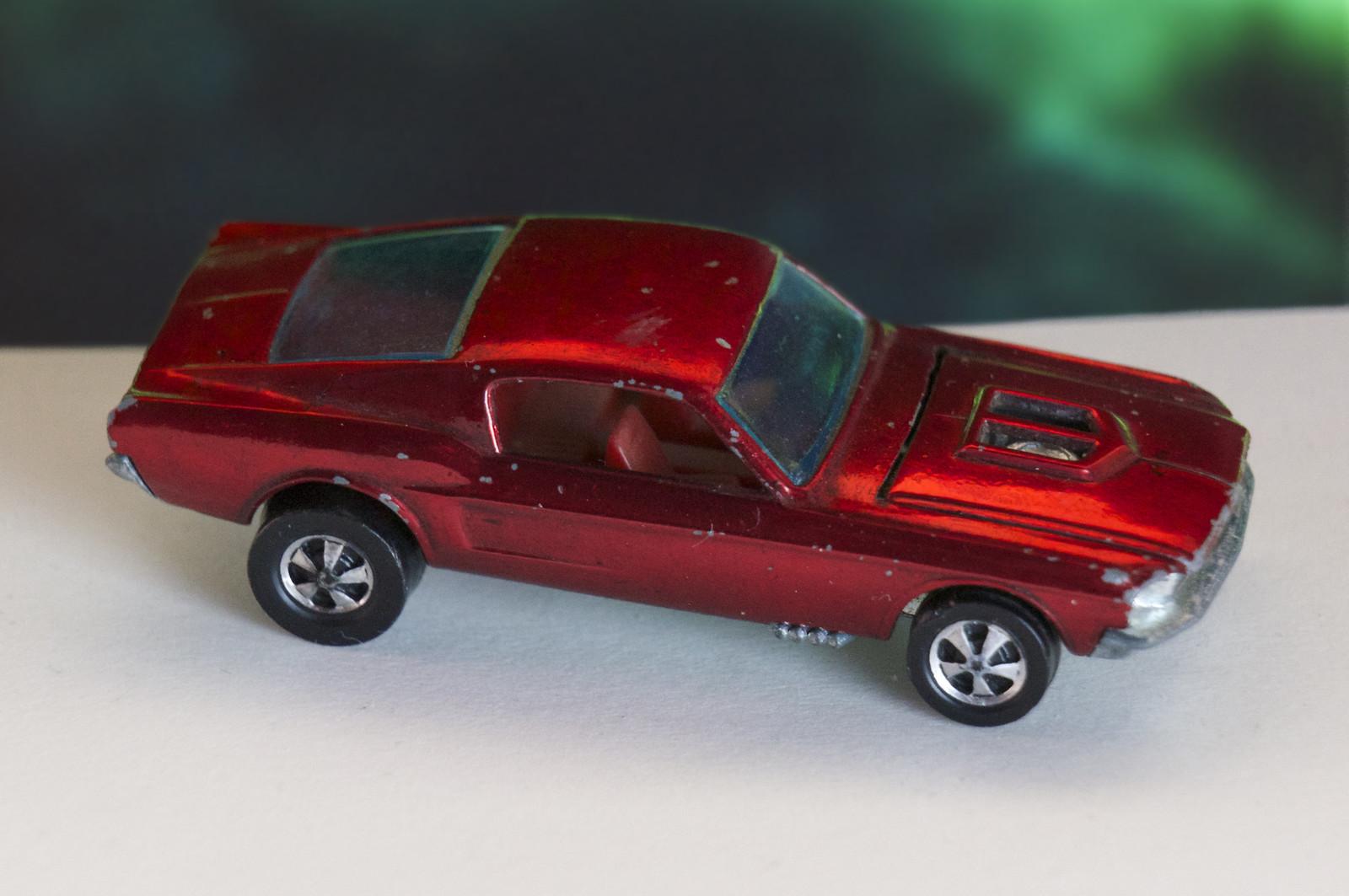 Hot Wheels Redline Early Production Red Custom Mustang Open Hood Scoop HK