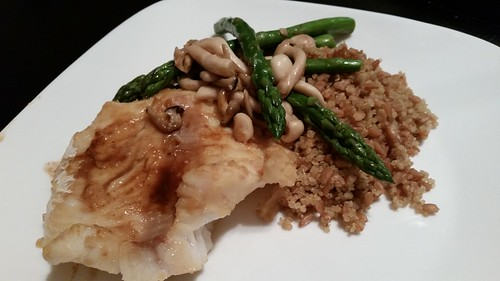 Miso pacific cod with shimeji mushrooms, asparagus, quinoa and farro ...