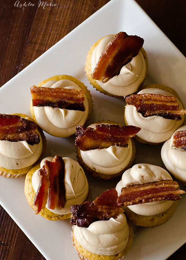 these easy, doctored box mix maple bacon cupcakes are topped with my secret maple buttercream