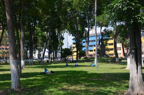 Ein Park zwischen den Fahrspuren einer breiten Strasse