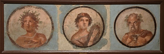 Fresco in the Fourth Pompeian Style with portraits set in medallions with blue background, from the exedra of the House of the Mosaic Atrium in Herculaneum, 50-79 AD, Empire of colour. From Pompeii to Southern Gaul, Musée Saint-Raymond Toulouse