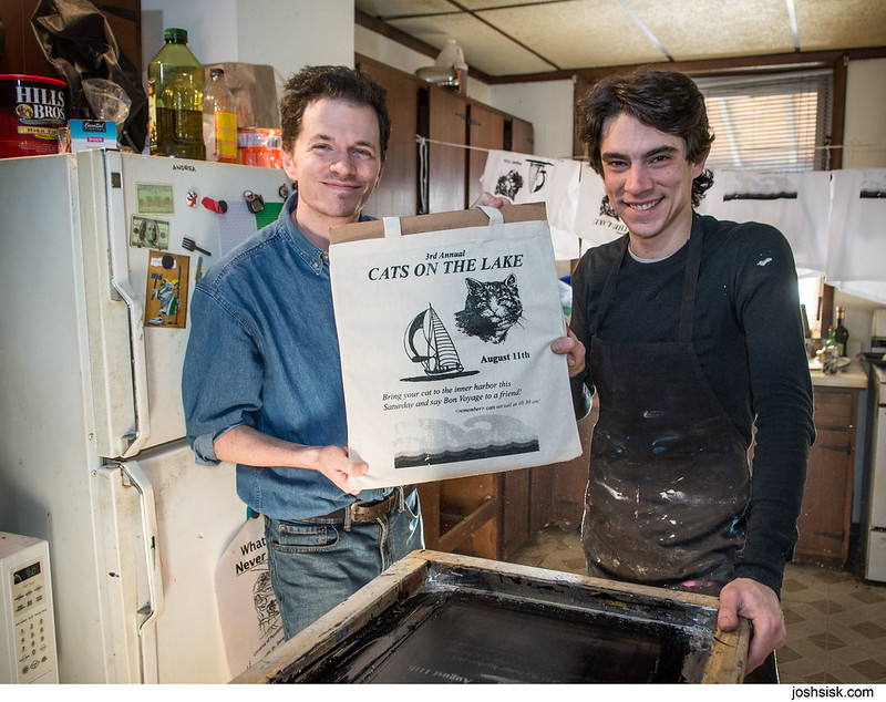 Ed Schrader & Kevin Sherry making Cats On The Lake shirts