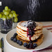 Almond blueberry buttermilk pancakes with blueberry lemon compote
