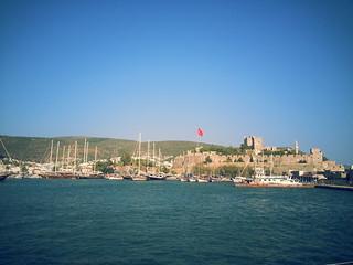 Obraz Mausoleum. blue sea turkey harbor europe mediterranean fortress bodrum
