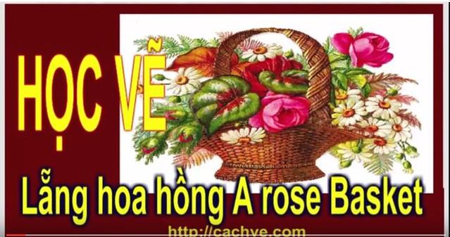 Cách vẽ Bình  hoa hồng