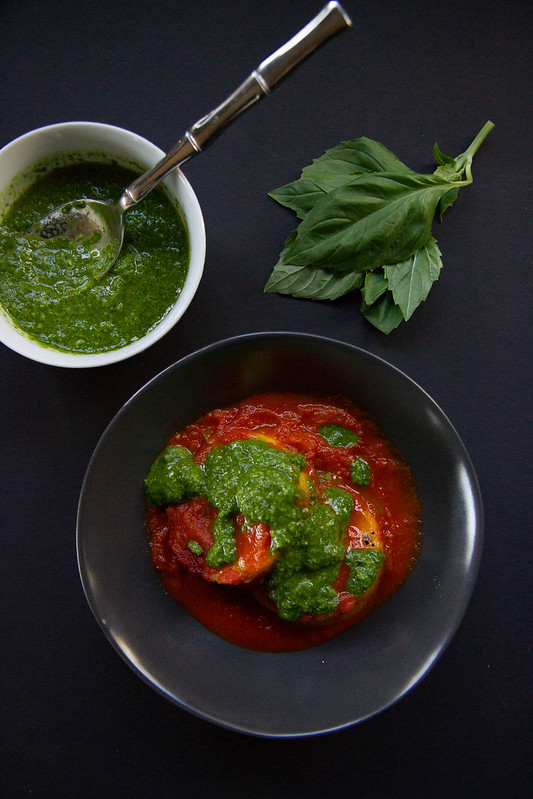 Crispy Baked Polenta with Smoky Tomato Sauce and Pesto Drizzle