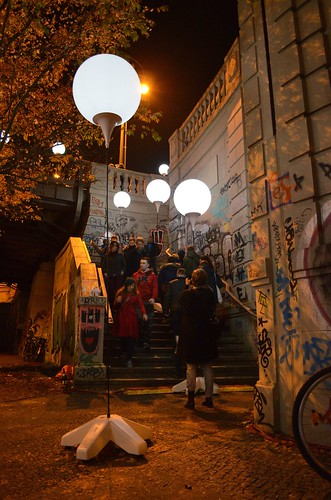Berlin Fall of The Wall 25 Year Anniversary Lichtgrenze_ lit balloons up graffiti stairs to Bornholmer Strasse