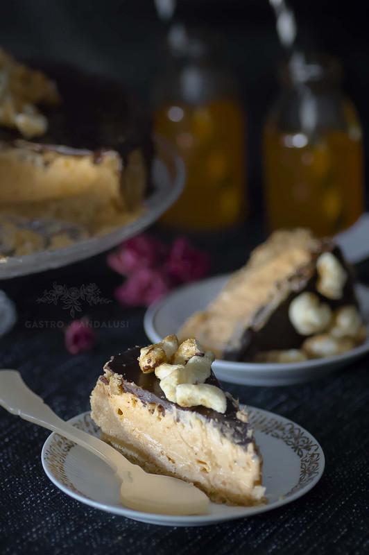 cheesecake de boniato y palomitas de caramelo con chocolate