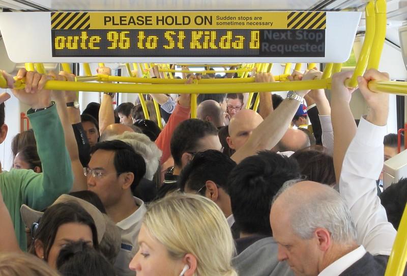 Crowding on tram route 96 in Bourke Street