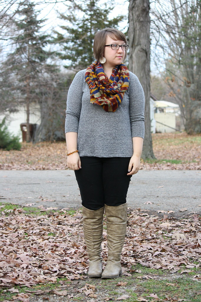 fall neutrals, aztec patterned scarf