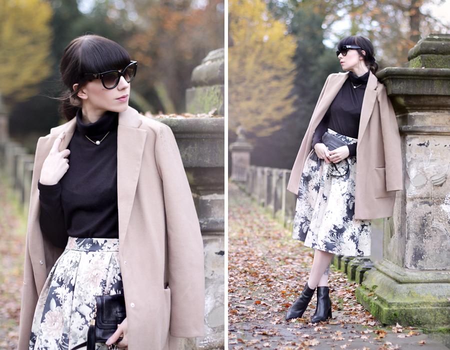 modern audrey outfit ootd nude pastel beige floral skirt bohoo prada sunglasses turtle neck pearl ricarda schernus cats & dogs 4