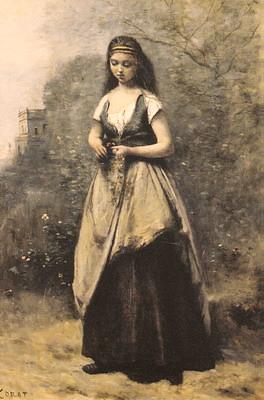 花輪を摘む若い女性