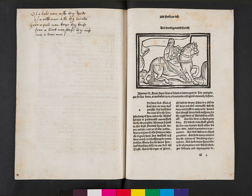 Manuscript rhyme and woodcut illustration in Chaucer, Geoffrey: The Canterbury Tales