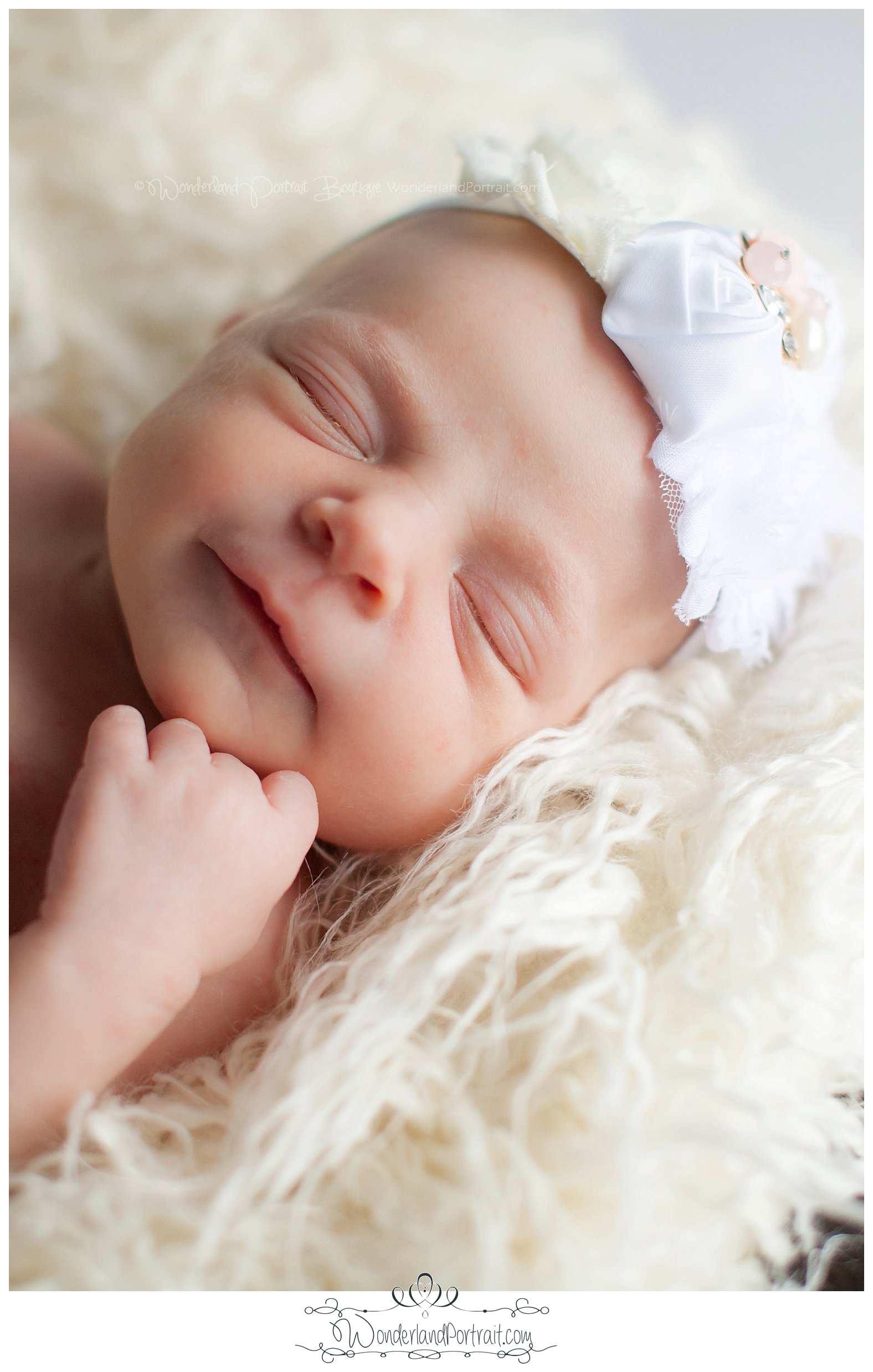 Close up pose Headband flowers Fancy Newborn Photos Bucks County PA | WonderlandPortrait.com