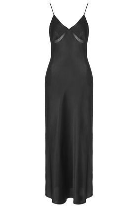 topshop satin maxi dress black