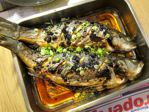 Roasted Sea Bass with Chili Oil and Black Beans