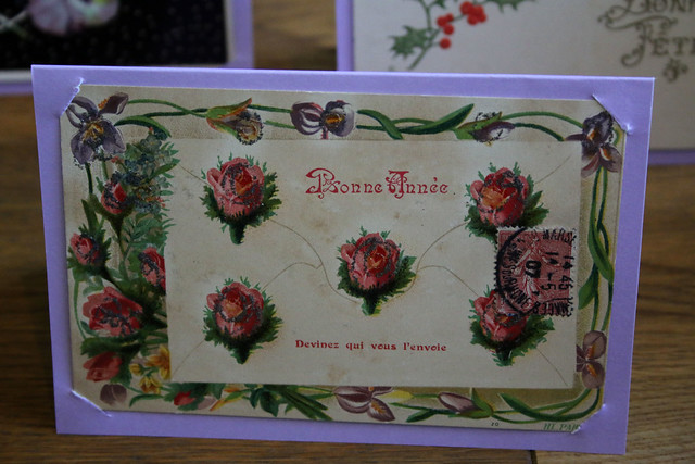 Handmade Christmas Cards using Vintage Postcards