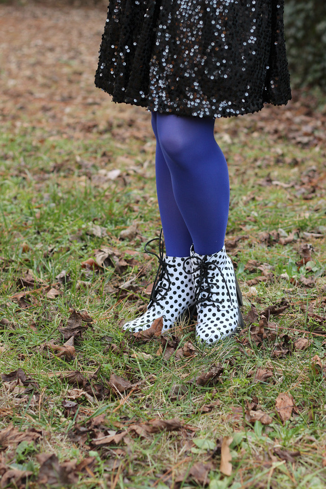 Sequined Dress, Blue Tights, Lace Up Polka Dot Boots