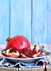 Pomegranate on a plate.