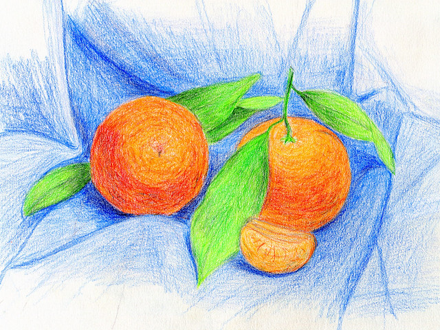 tangerines. colored pencils
