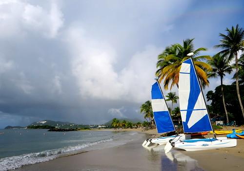 sky beach clouds strand palms hotel himmel wolken resort palmtrees ciel caribbean nuages plage stlucia palmiers rendezvous palmen westindies