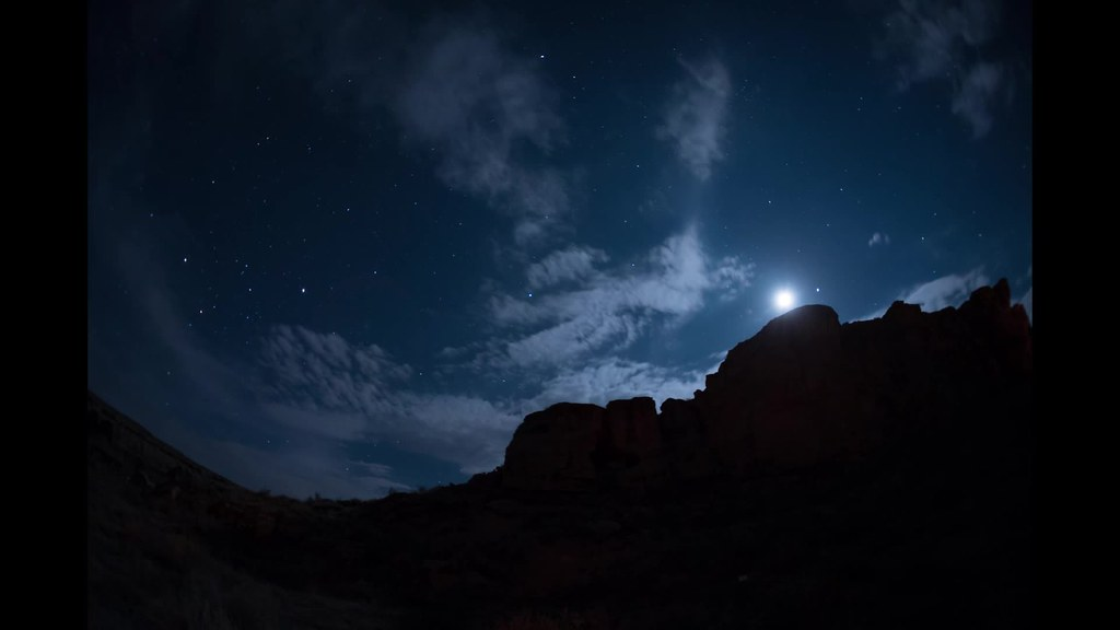Chaco Canyon moon, stars, and clouds