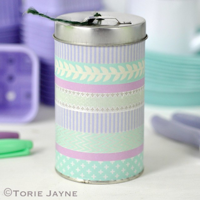 Twine tin with Washi Tape 1