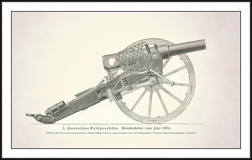 4967 Mey5 German Field Gun Mey Meyers Konversations-Lexikon 5. Auflage. Bibliogr. Institut. in Laipzig Geschütze I. Feld - und Gebirgsgeschütze 1. Deutsches Feldgeschütz Konstruktion von Jahr 1873